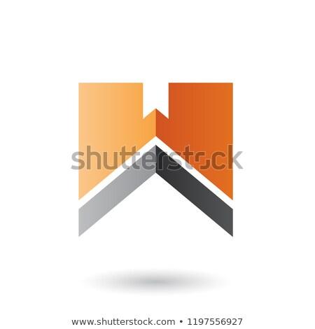 Arancione nero lettera w stripe vettore isolato Foto d'archivio © cidepix