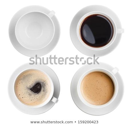 Vide tasse soucoupe au-dessus vue blanche Photo stock © dash