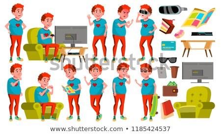 Teen garçon vecteur rouge tête Photo stock © pikepicture