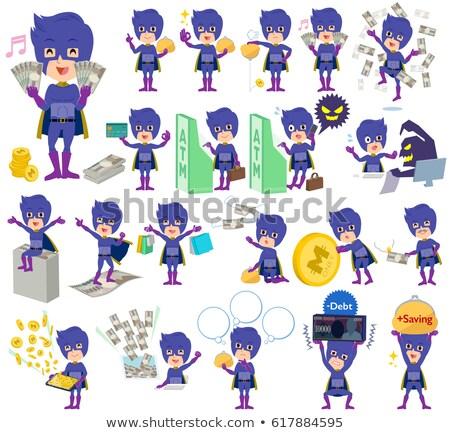super hero man dark purple money stock photo © toyotoyo
