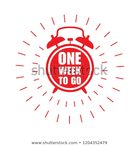 One week to go label -  sticker with ringing alarm clock, sale Stock photo © gomixer