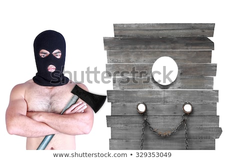 Prisoner with axe isolated on white background Stock photo © Elnur