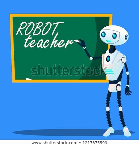 robot teacher writes on blackboard vector isolated illustration stock photo © pikepicture