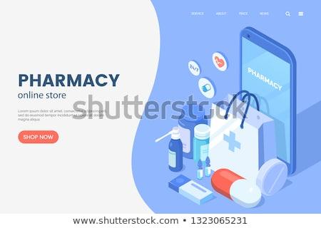 Médication pharmacie web affiches production pilules Photo stock © robuart