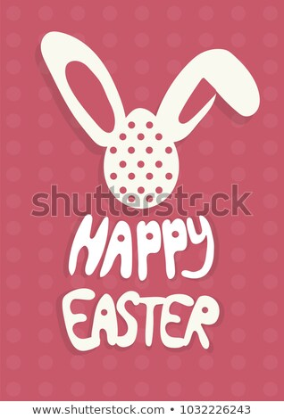 Happy Easter greeting card with rabbit, bunny and text on red background A4 stock photo © Natali_Brill