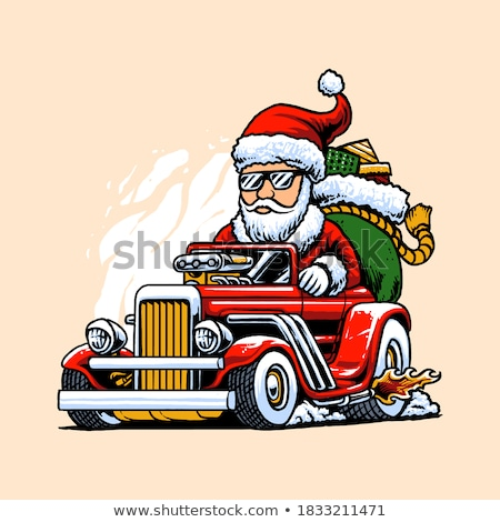 Hot rod natal desenho animado carro engraçado Foto stock © jeff_hobrath