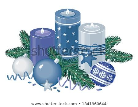 Weihnachten · Kerze · Laterne · Zweig · Schnee - stock foto © karandaev