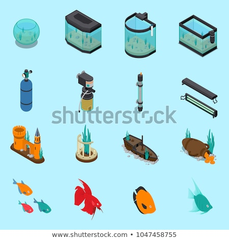 Aquário dispositivos conjunto temperatura saldo peixe Foto stock © robuart