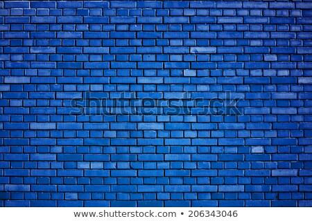 Tuğla mavi duvar sıva çatlaklar beyaz Stok fotoğraf © romvo