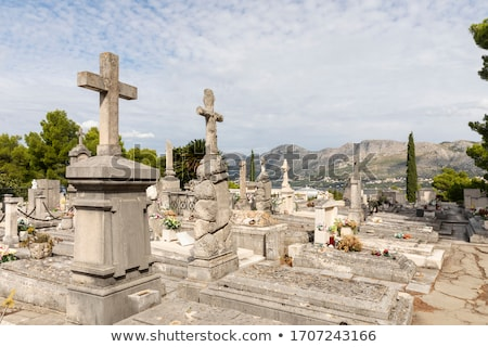 Cavtat graveyard and The Racic Mausoleum view stock photo © xbrchx