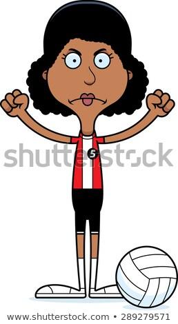 Cartoon colère volleyball joueur femme regarder Photo stock © cthoman