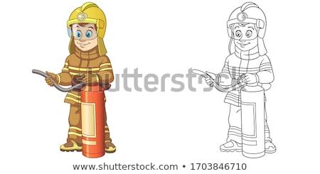 cartoon smiling firefighter man stock photo © cthoman