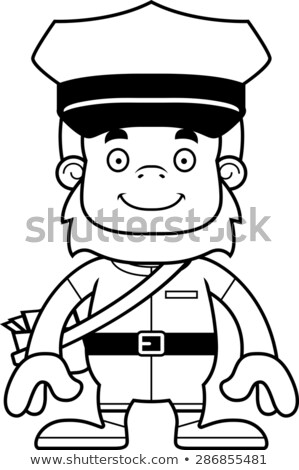 Cartoon Smiling Mail Carrier Sasquatch Stock photo © cthoman