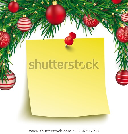 Yellow Stick Red Pin Christmas Twigs Red Baubles Stock photo © limbi007