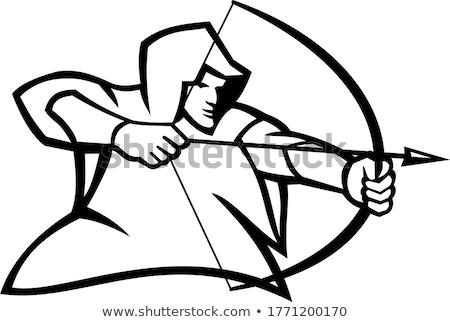 íjászat · logo · szimbólum · sportok · felirat · fekete - stock fotó © patrimonio