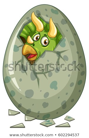 Dinosaur comes out of gray egg Stock photo © colematt