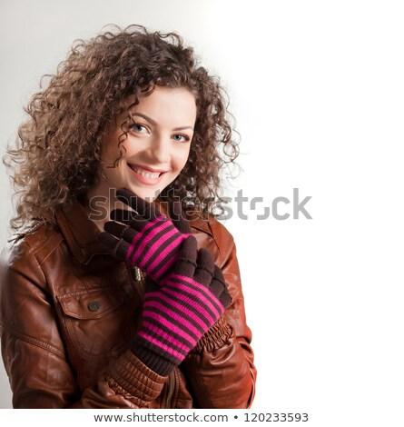Porträt lächelnd Mädchen Pullover Schal isoliert Stock foto © deandrobot