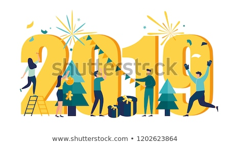 2019, Happy New Year. Greeting card with inscription Chinese New Year. Stock photo © FoxysGraphic