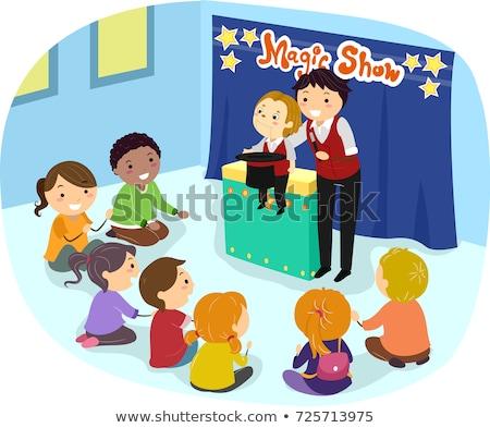 Crianças ilustração assistindo truque de mágica menina Foto stock © lenm