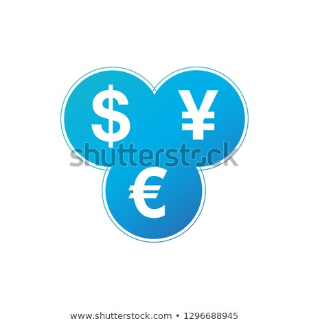 currency exchange dollar euro yen icon three most traded currencies in the world in three circles stock photo © kyryloff