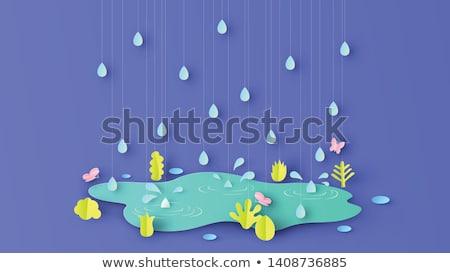 Esik az eső eső jelenet illusztráció fa természet Stock fotó © colematt