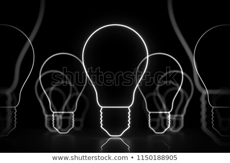Stock photo: Colored incandescent light bulb sketch