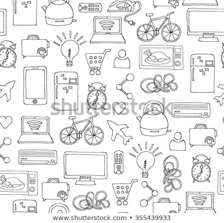 okos · mikró · sütő · kézzel · rajzolt · skicc · firka - stock fotó © RAStudio