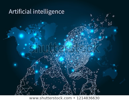Artificial Intelligence Map Network Poster Vector Stock photo © robuart