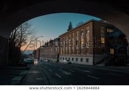Estrada Suíça pôr do sol azul hora montanhas Foto stock © frimufilms