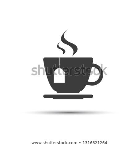 単純な · 現代 · グレー · カップ · 茶 · ベクトル - ストックフォト © kurkalukas