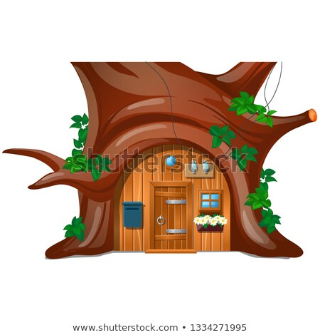 A cozy cottage with mail box in the woods under a tree isolated on white background. Vector cartoon  Stock photo © Lady-Luck