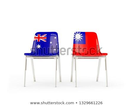 Iki sandalye bayraklar Avustralya Tayvan yalıtılmış Stok fotoğraf © MikhailMishchenko