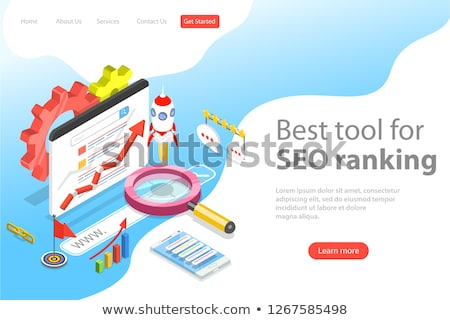 Flat isometric vector landing page template of tracking tool for keyword ranking Stock photo © TarikVision