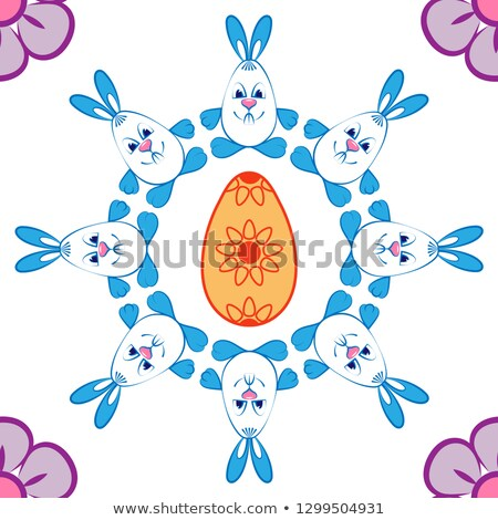 easter sale illustration with color painted egg spring flower and rabbit ears on yellow background stock photo © articular