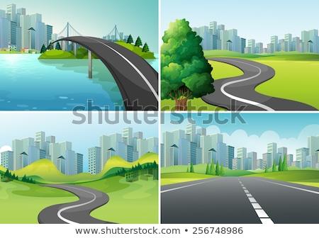 Dört park yollar örnek çim manzara Stok fotoğraf © colematt