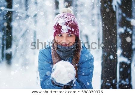 Boldog lány játszik dob hógolyó tél gyermekkor Stock fotó © dolgachov
