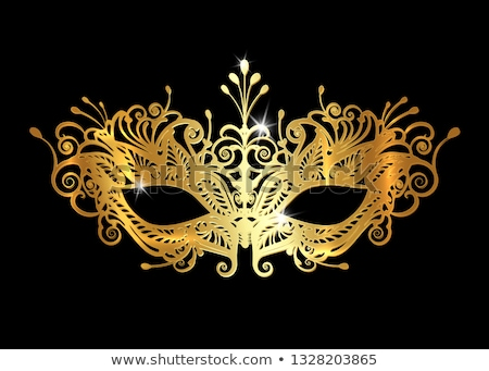 Golden ornamented mask Vector realistic. Stylish Masquerade Party. Mardi Gras card invitation. Night Stock photo © frimufilms
