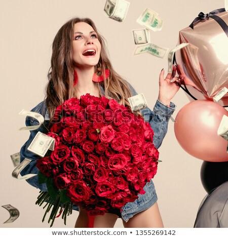 bela · mulher · vermelho · flores · vermelhas · rosas · estúdio - foto stock © studiolucky