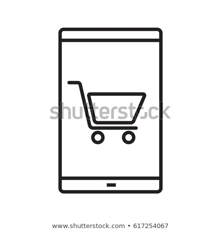 Smartphone winkelen app lineair icon dun Stockfoto © kyryloff