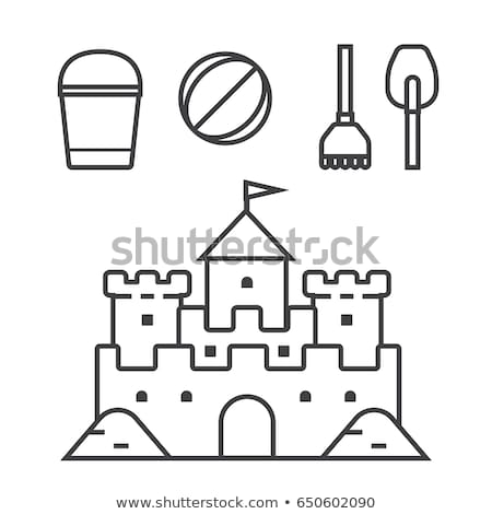 vector black, white fantasy castle sand, sandcastle stock photo © VetraKori