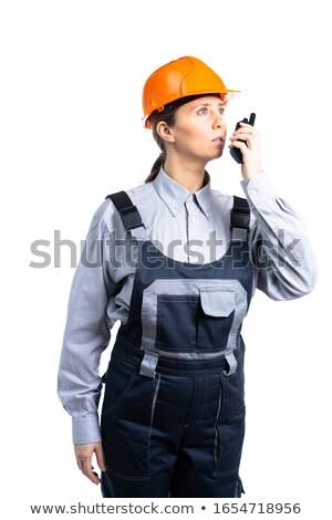 笑みを浮かべて 女性 ヘルメット 孤立した 白 ストックフォト © feverpitch
