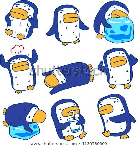 Sıcak yaz mavi penguen terleme ayarlamak Stok fotoğraf © Blue_daemon