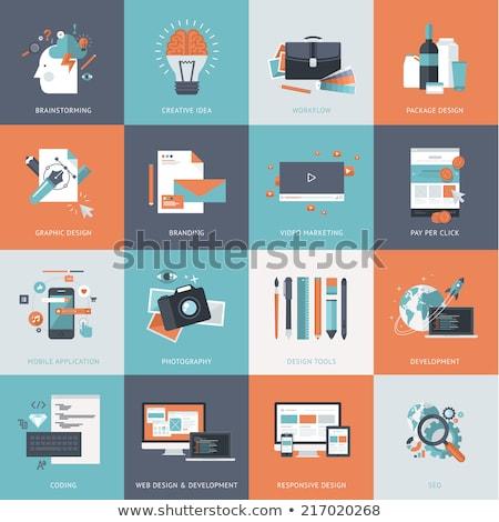 Ingesteld ontwerp iconen website ontwikkeling grafisch ontwerp Stockfoto © makyzz