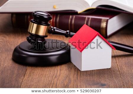 Miniatuur huis hamer Open boek model Stockfoto © AndreyPopov