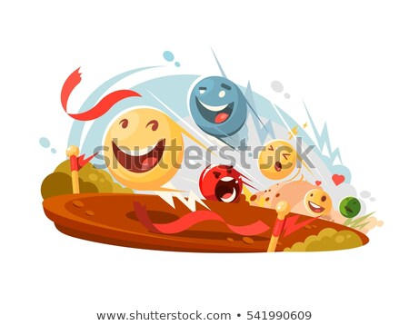 Grappig smileys race gelukkig abstract Stockfoto © jossdiim