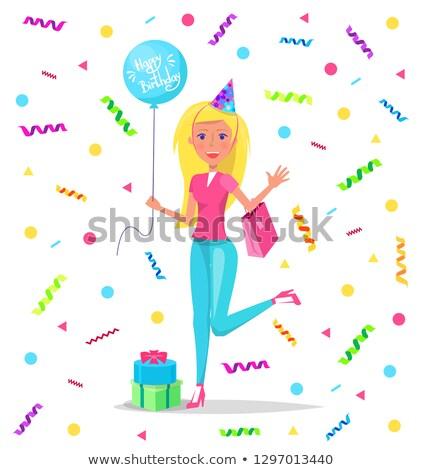 Gelukkige verjaardag dame ballon kant confetti blonde vrouw Stockfoto © robuart