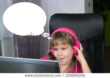 Lány játszik számítógép szöveglufi illusztráció terv Stock fotó © colematt