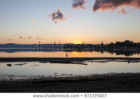 Zonsondergang Canada visser water landschap reizen Stockfoto © Lopolo