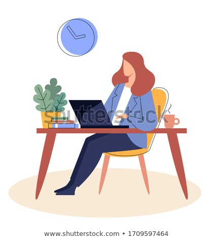 woman with laptop worker secretary lady on chair stock photo © robuart