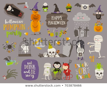 set of halloween cartoon objects symbols and items stock photo © balabolka